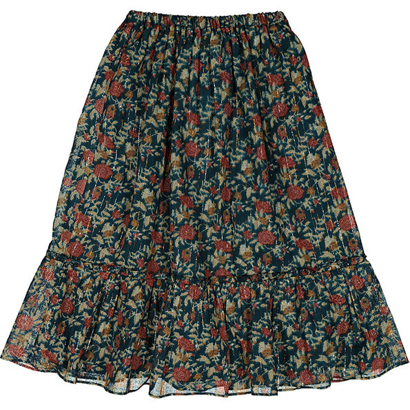 Skirt Rachel Indian Flower Lurex Emerald