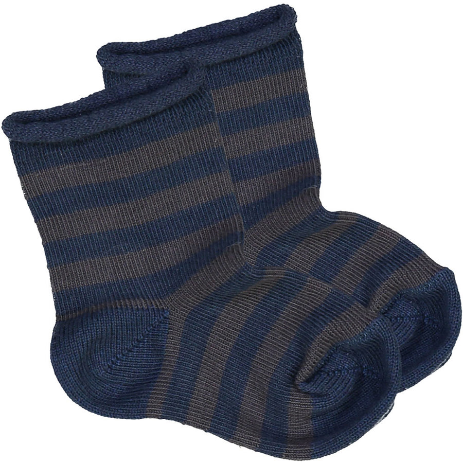 Socks Jackson Knitted Cotton Stripes Dark Blue / Grey