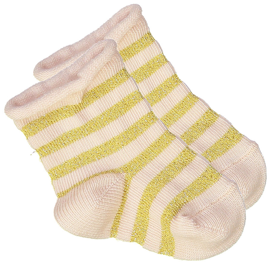 Socks Jackson Knitted Cotton Stripes Pink / Gold