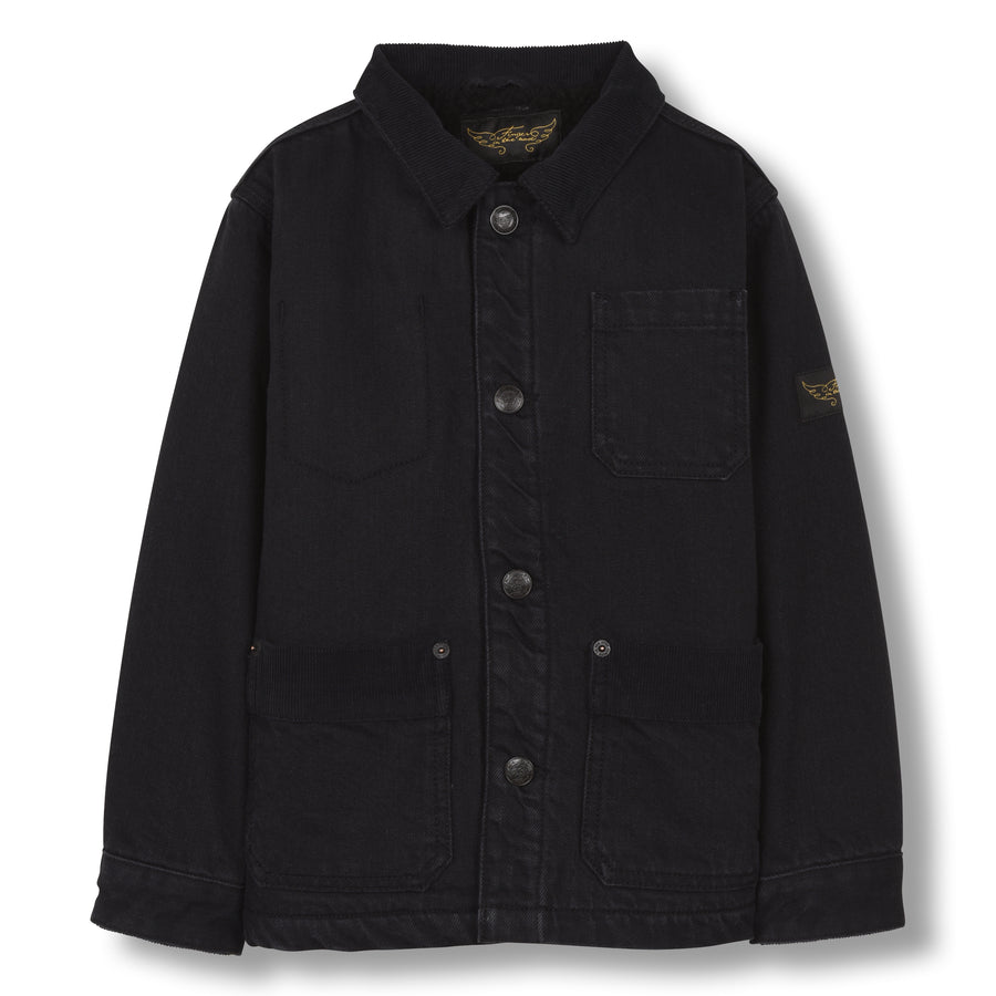 Warren Black Denim - Unisex Woven Multipocket Jacket