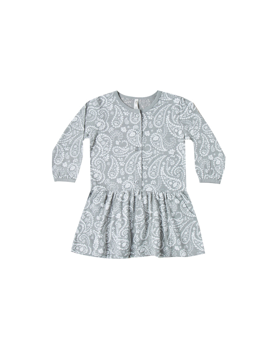 paisley button up jersey dress