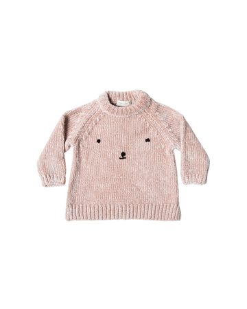 Bear face chenille sweater