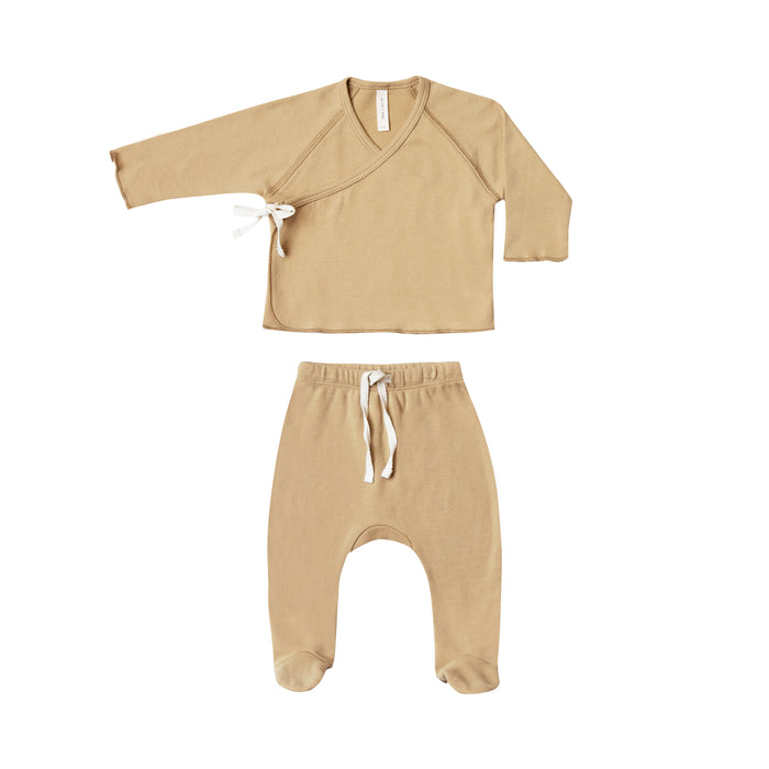 Kimono Top + Footed Pant Set Honey