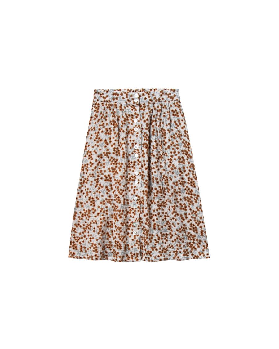 Flower field button front midi skirt