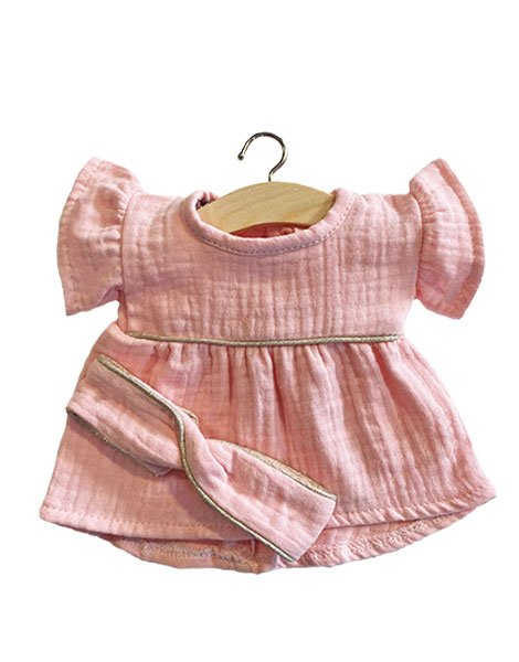 Robe Daisy en coton double gaze Rose tendre, passe-poil Silver et son headband