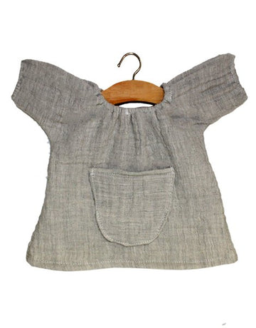 Robe Jeanne En Coton Double Gaze Gris Chinée