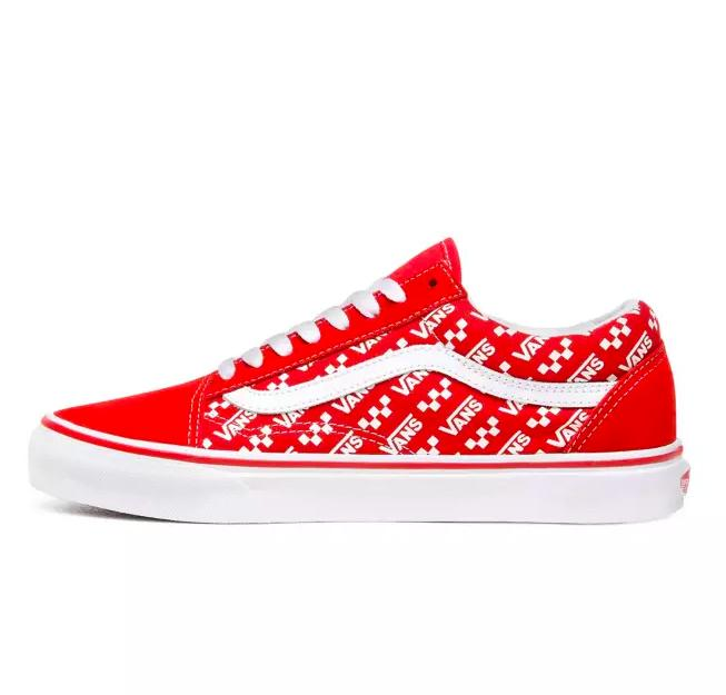 VANS Old Skool - (Logo Repeat) Racing Red-True White