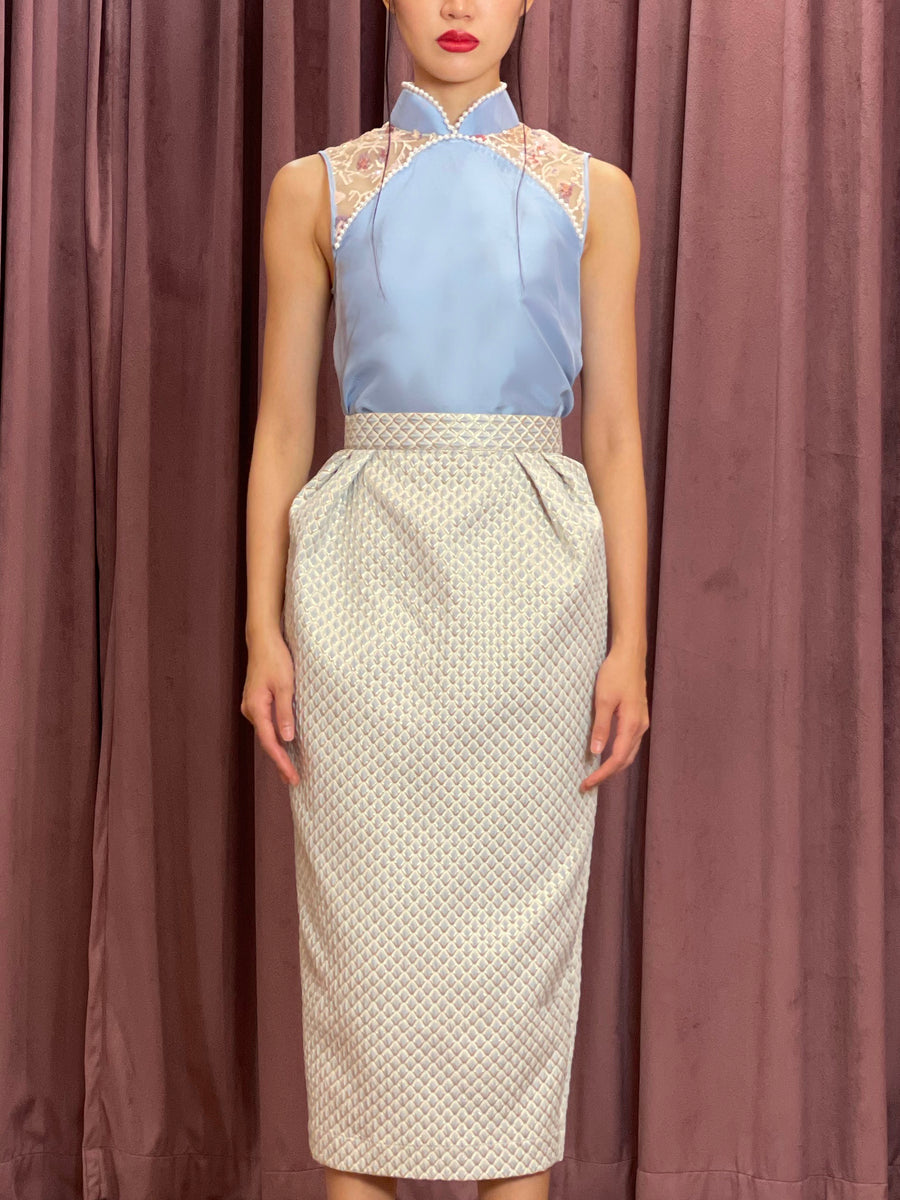 Pleated Brocade Pencil Skirt | Blue Silver Geometry