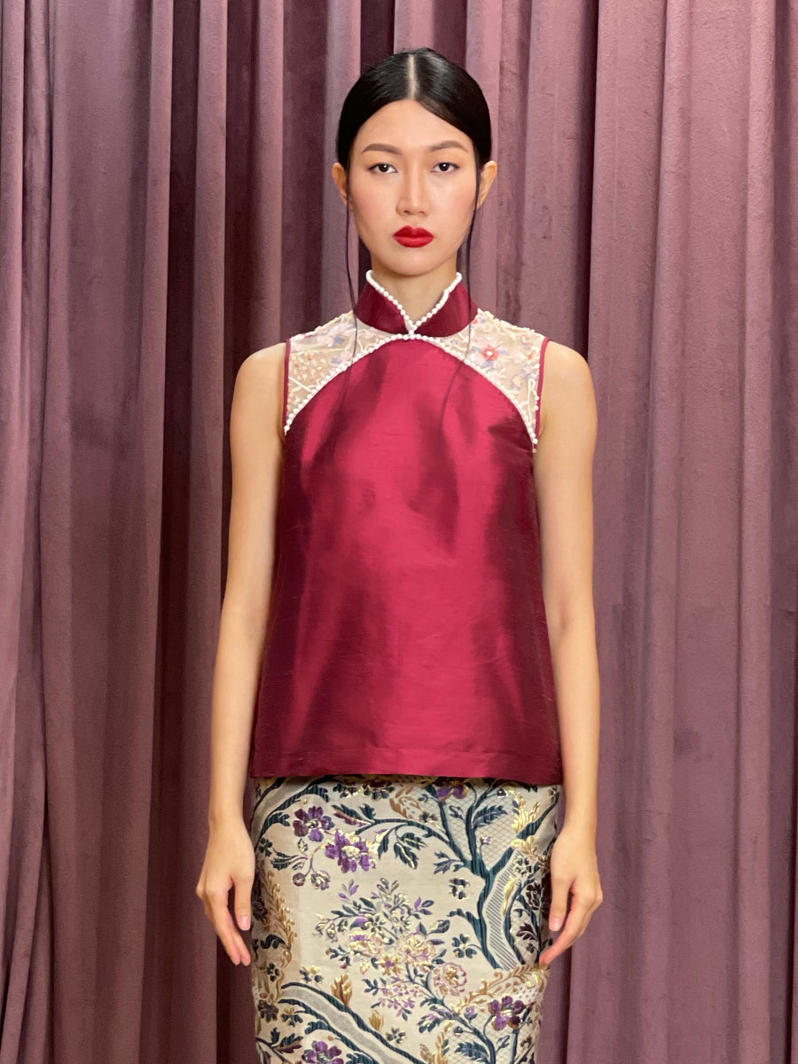 Maarimaia Silk Qipao Sleeveless Top | Pink
