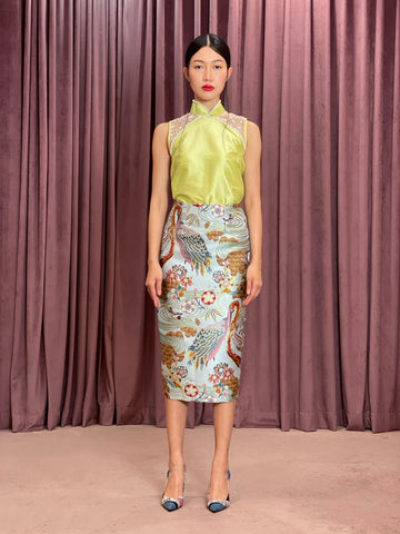 Maarimaia Silk Qipao Sleeveless Top | Lime