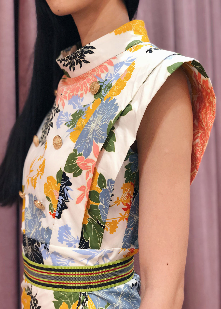 Layered Statement Shoulder Button Accent Top | Floral Print