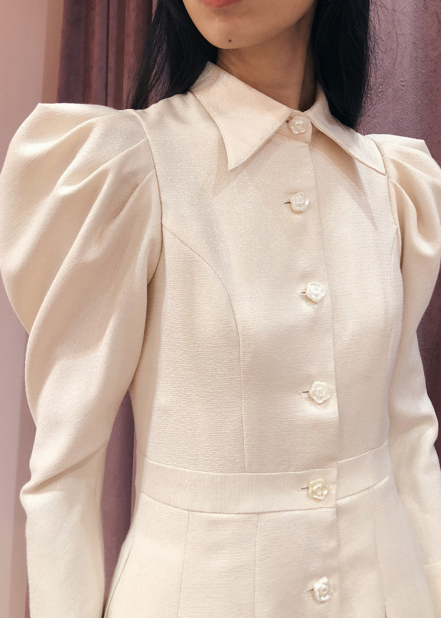 Statement Sleeve 70s Collar Button Down Pleated Midi | Beige