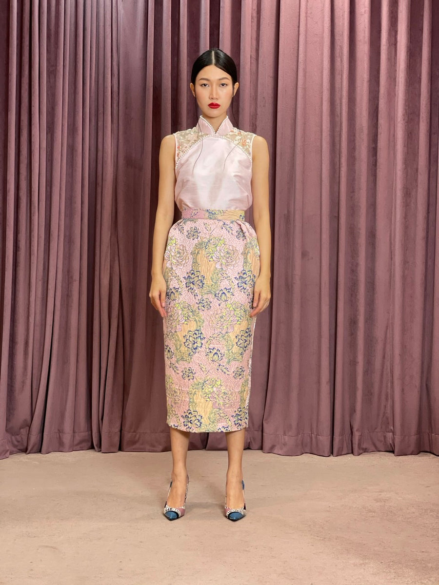 Pleated Brocade Pencil Skirt | Pink Chinoiserie