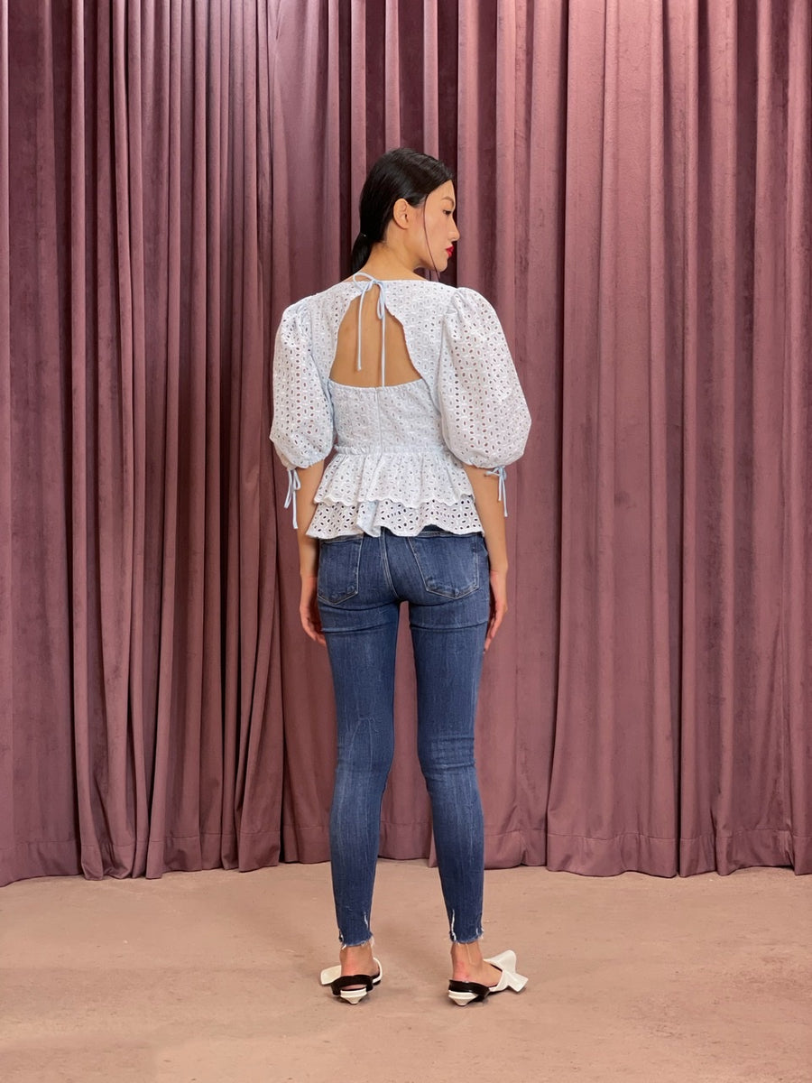 Exaggerated Puff Sleeve Scallop Tie Back Peplum Top | Pastel Blue Eyelet