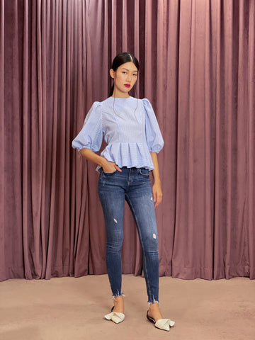Exaggerated Puff Sleeve Double Bow Tie Back Peplum Top | Blue Gingham