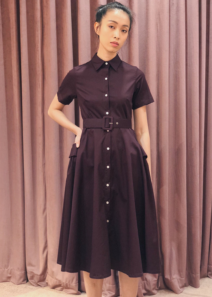 Button Down Belted Pleated Pocket Detail Midi Dress | Maroon