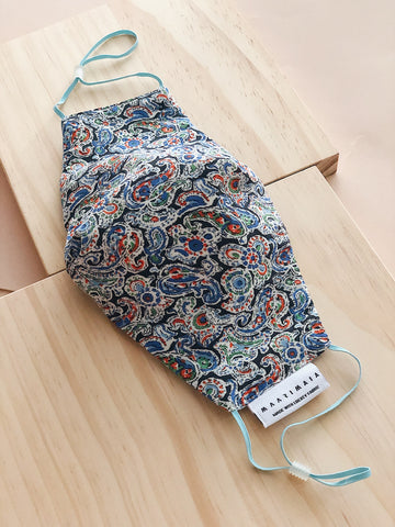 Liberty Cotton Face Mask | Blue Black Paisley