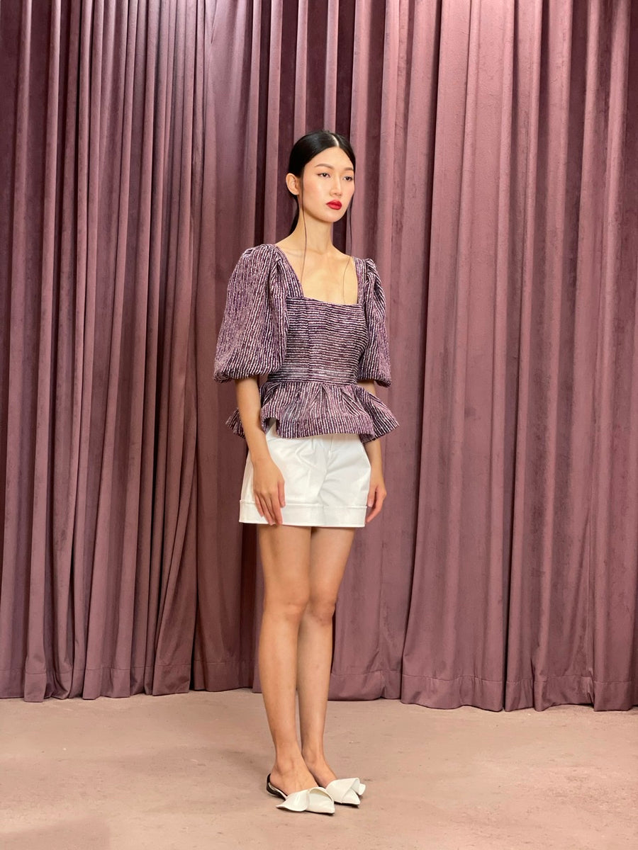 Square Neck Exaggerated Peplum Puff Sleeve Top | Purple Embroidered Tulle