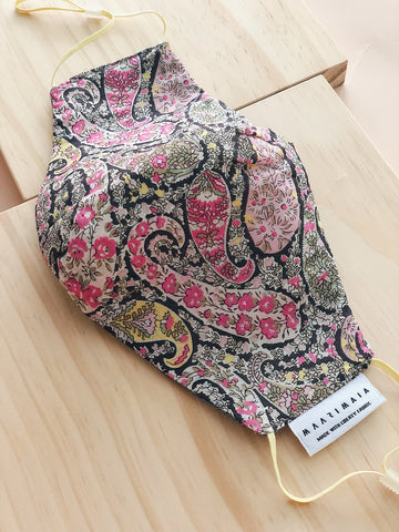 Liberty Cotton Face Mask | Pink Black Paisley