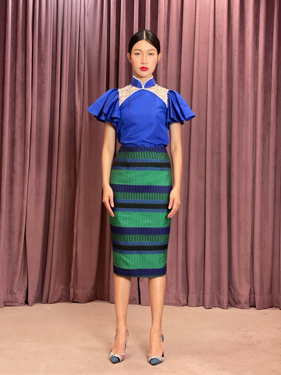 Brocade Pencil Skirt | Green Cobalt Geometric
