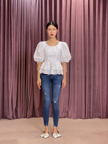 Exaggerated Puff Sleeve Scallop Tie Back Peplum Top | White Eyelet