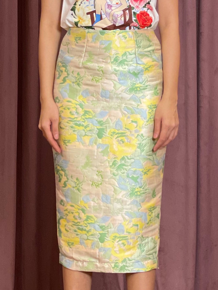 Brocade Pencil Skirt | Pastel Pink Blue Abstract
