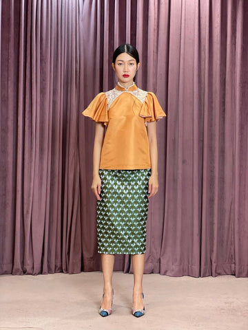 Maarimaia Silk Qipao Top | Burnt Orange