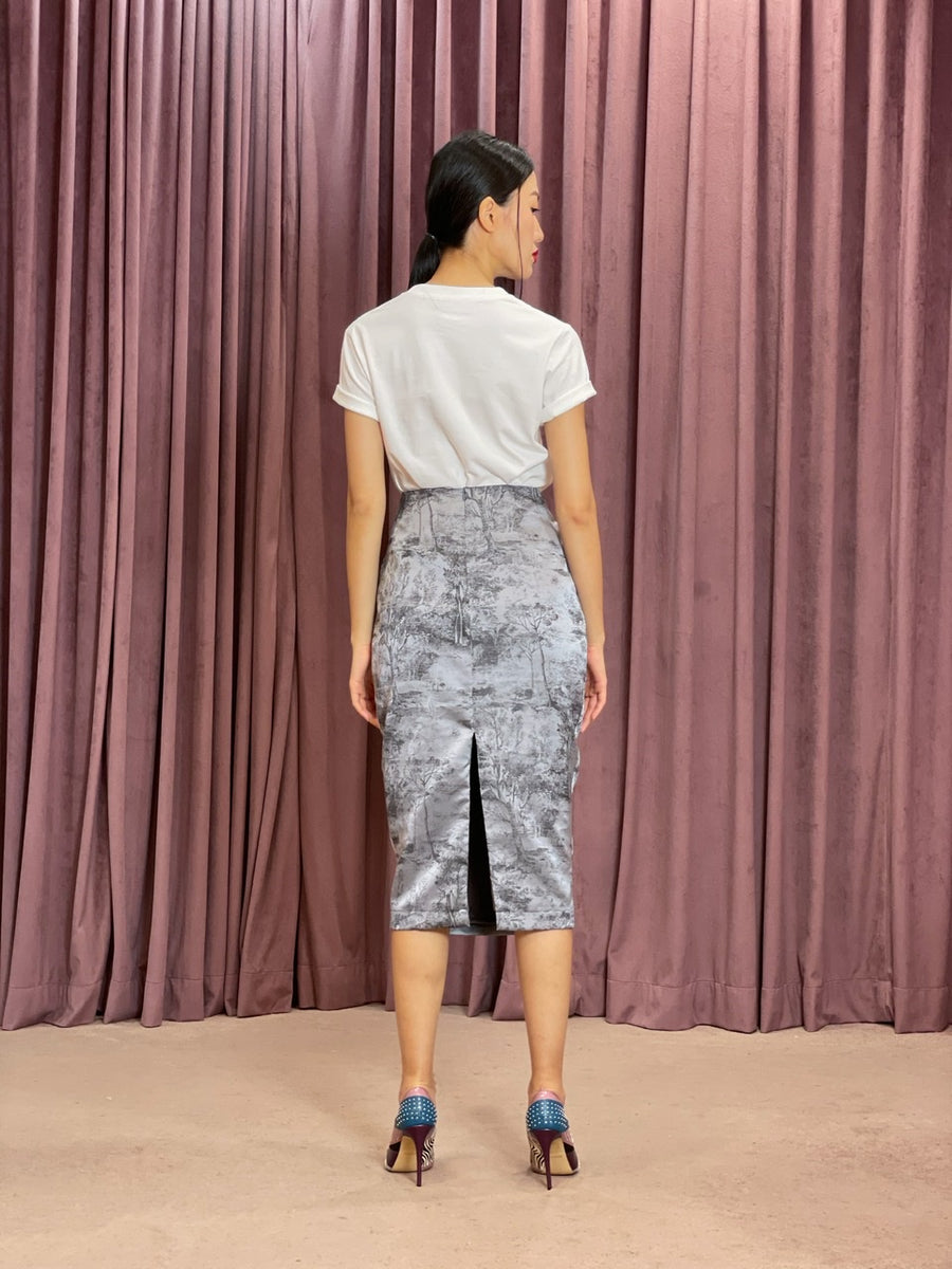 Brocade Pencil Skirt | Dark Grey Chinoiserie
