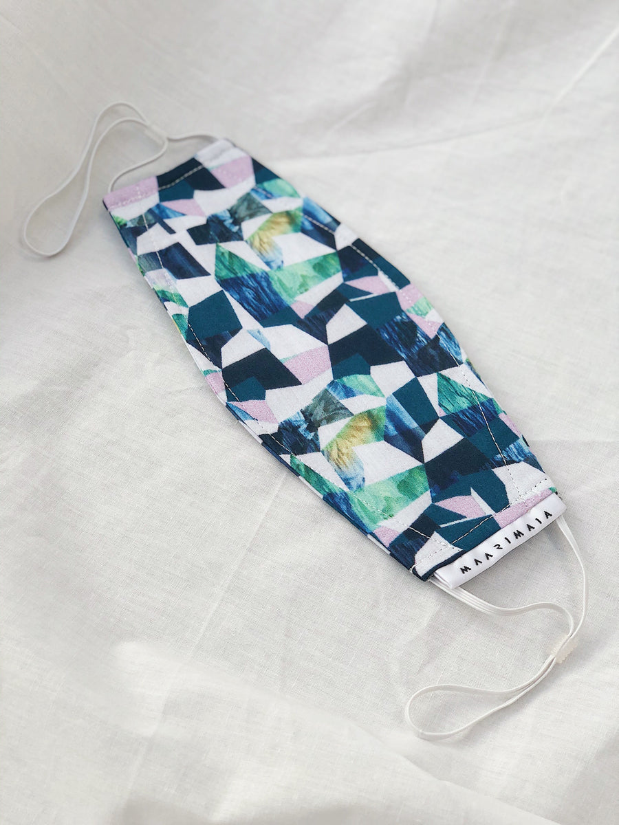 Rectangular Cotton Face Mask | Abstract Blue Lilac