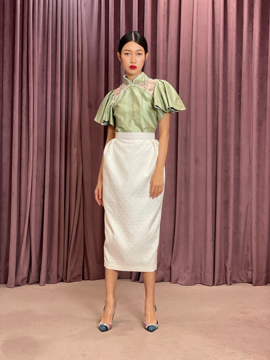 Pleated Brocade Pencil Skirt | Off White Texture Geometry