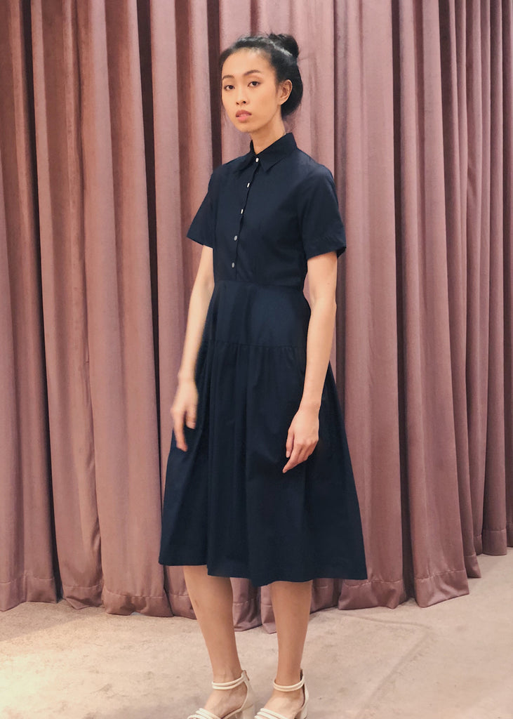 Button Down Gathered Flared Skirt Midi Dress | Navy