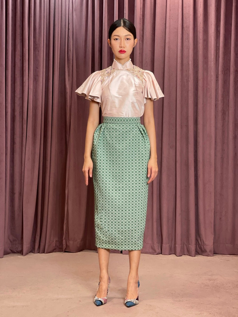 Pleated Brocade Pencil Skirt | Green Geometry