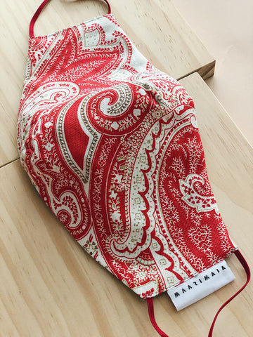 Cotton Face Mask | Red Paisley
