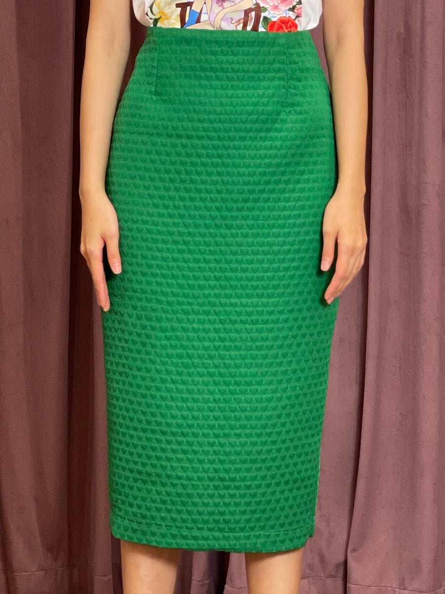 Brocade Pencil Skirt | Green Heart