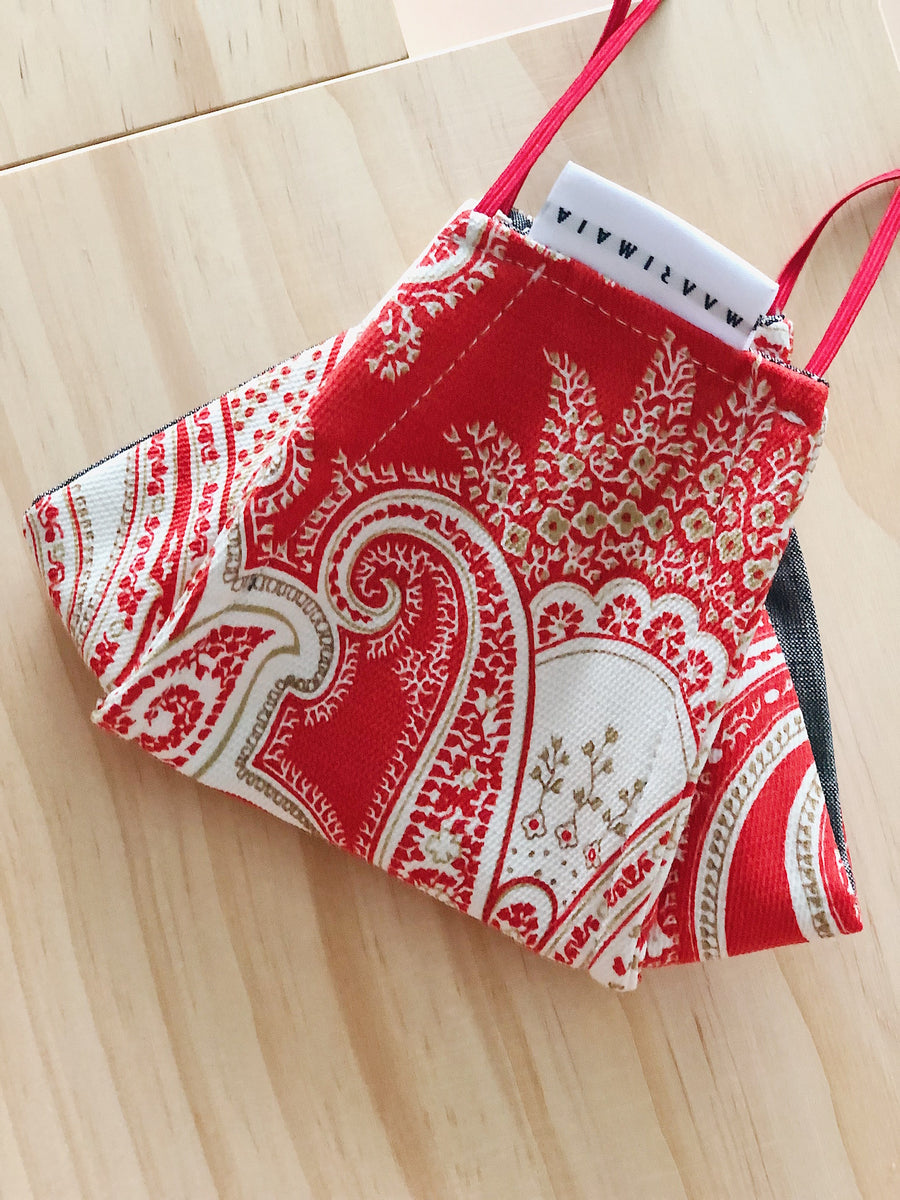 Rectangular Cotton Face Mask | Red White Paisley