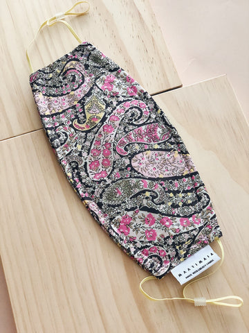 Rectangular Liberty Cotton Face Mask | Pink Black Paisley