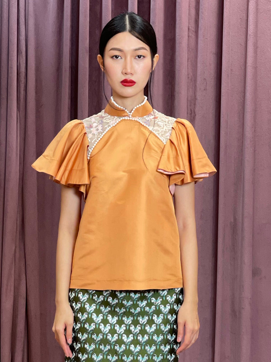 Maarimaia Silk Qipao Top | Blue