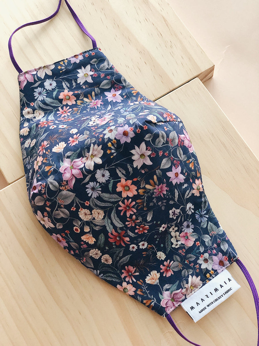Liberty Cotton Face Mask | Multi Navy Floral