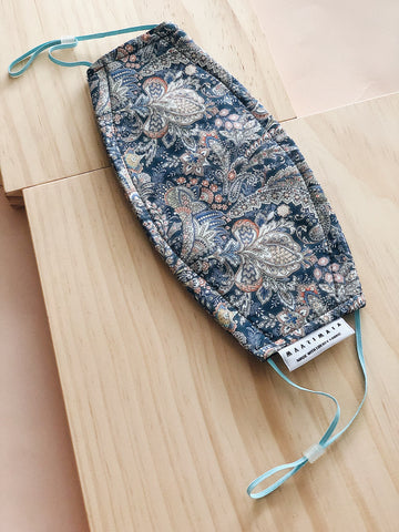 Rectangular Liberty Cotton Face Mask | Blue Grey Paisley