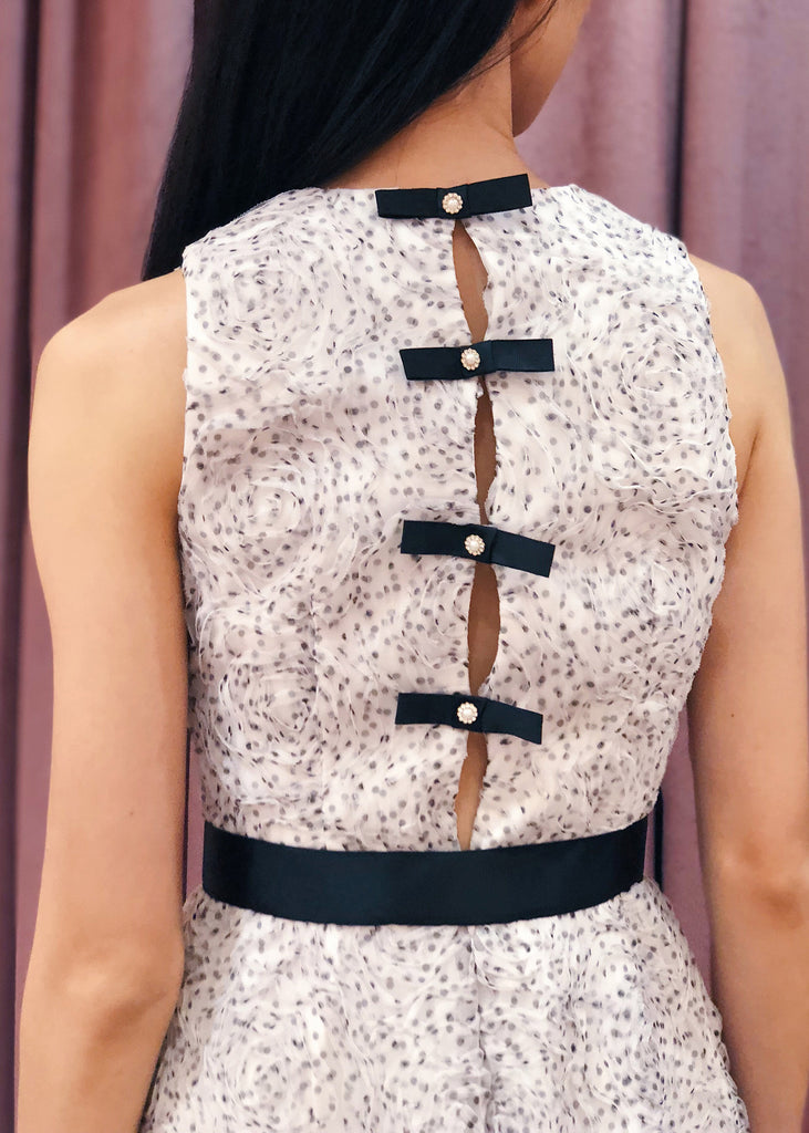 Belted 3D Polka Dot Tulle with Rhinestone Bow Back | White