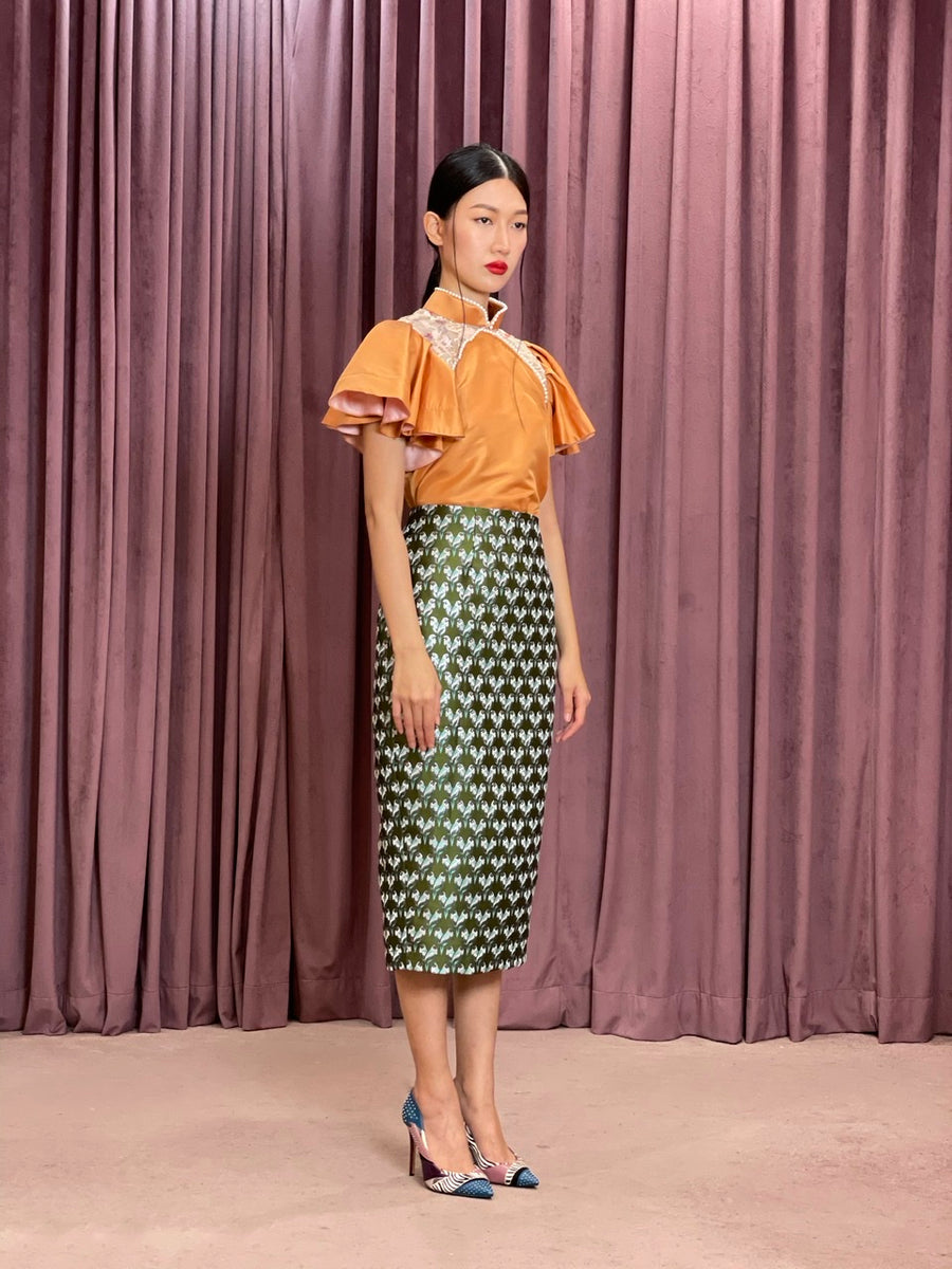 Brocade Pencil Skirt | Green Parrot