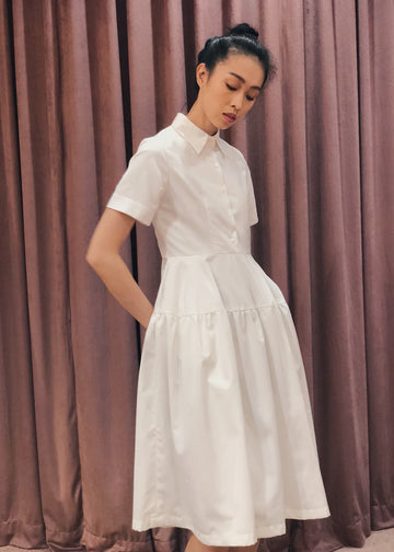 Button Down Gathered Flared Skirt Midi Dress | White