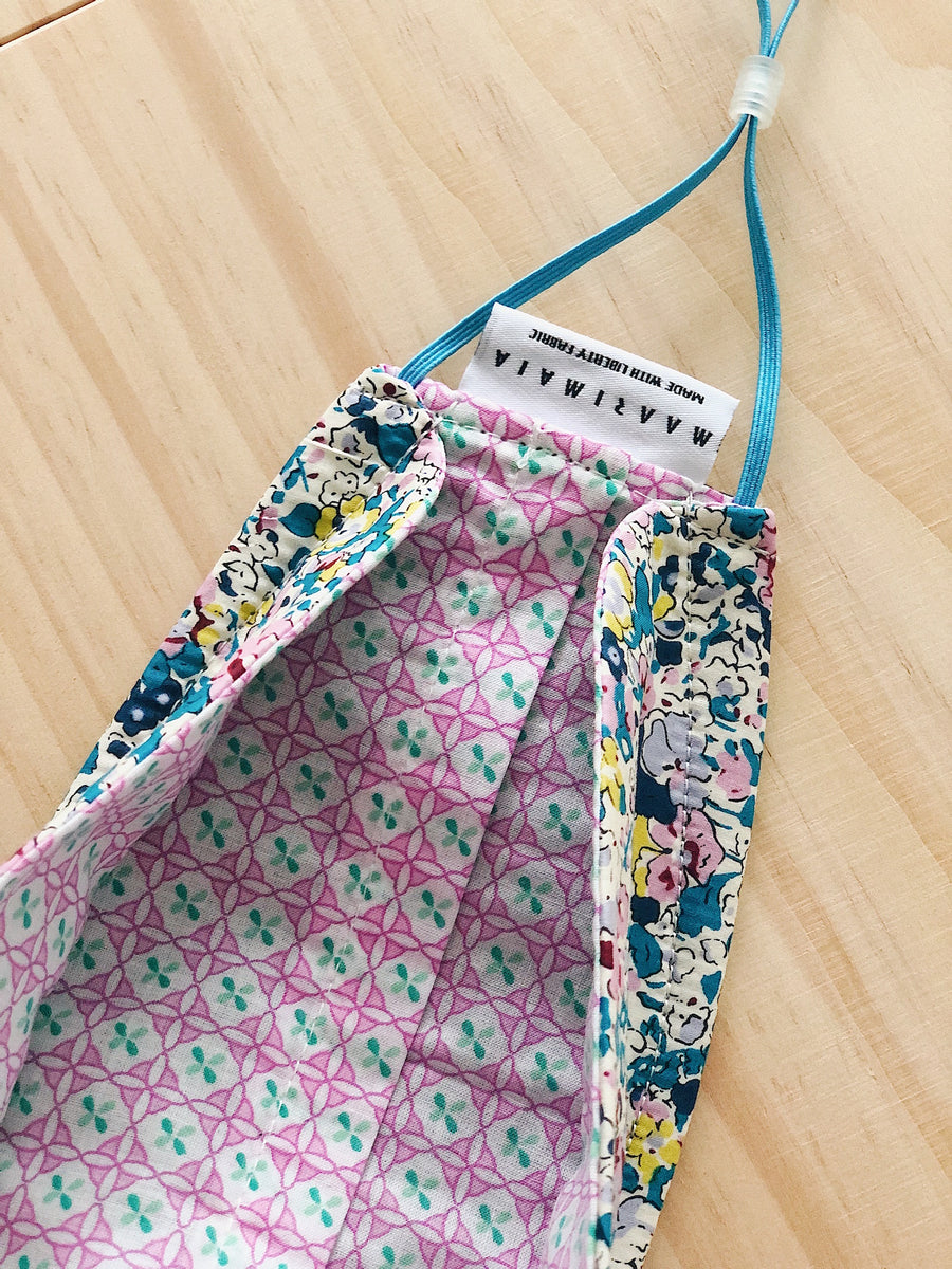 Rectangular Liberty Cotton Face Mask | Blue Pink White Floral
