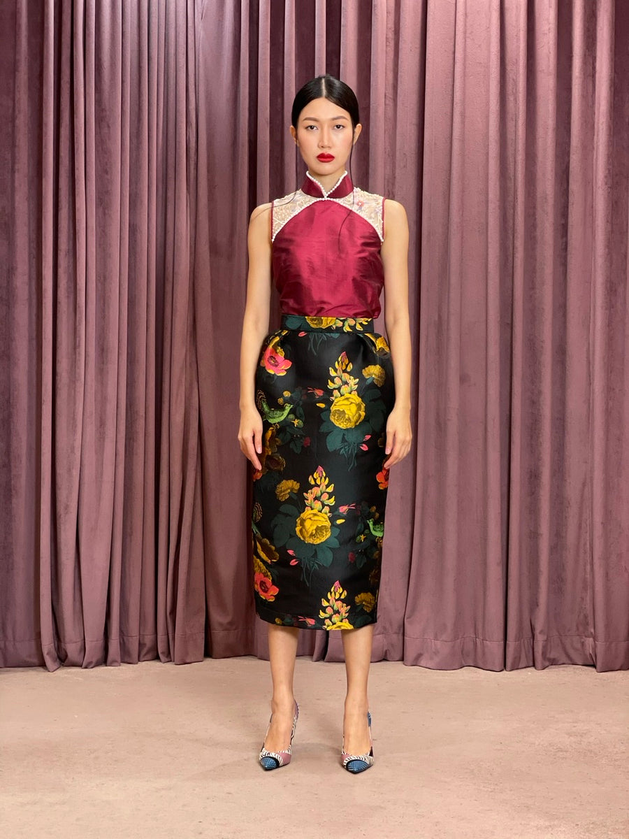 Pleated Brocade Pencil Skirt | Black Yellow Chinoiserie