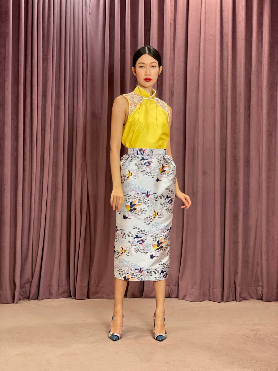 Pleated Brocade Pencil Skirt | Blue Yellow Chinoiserie