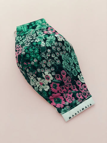 Brocade Face Mask | Green/pink Floral