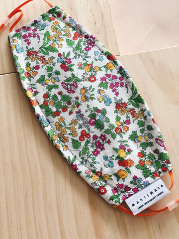 Rectangular Liberty Cotton Face Mask | White Green Floral