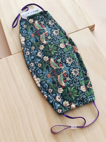 Rectangular Liberty Cotton Face Mask | Bird Navy Floral