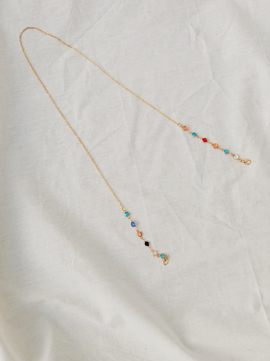 Mask Chain Necklace | Gold with Multicolour Bead