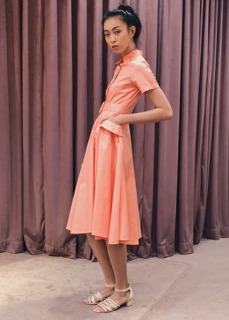 Button Down Belted Pleated Pocket Detail Midi Dress | Coral